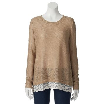 Pink Republic Lace Trim Juniors' Sweater, Size: