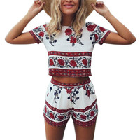 Two Piece Boho Chic Floral Romper
