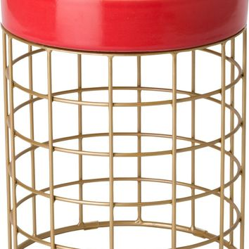 Cooper Metal Stool/Table Powdercoated Gold With A Coral Ceramic Top
