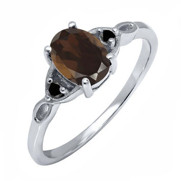 1.27 Ct Oval Brown Smoky Quartz Black Diamond 925 Sterling Silver Ring