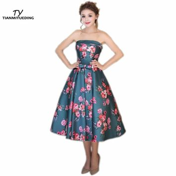 2017 Hot Strapless Cheap Prom Dresses Print Flowers Draped Tea Length Vintage Formal Cocktail Party Dress Vestidos De Formatura