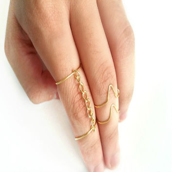 Gold Midi Ring - Knuckle Ring 3 piece set