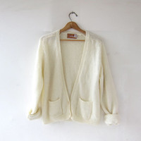 Vintage Cream Cardigan. Mohair Spring Sweater. Preppy Slouchy Cardigan w Pockets.