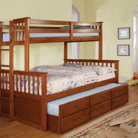 University II Oak Wood Finish Twin over Full Bunk Bed with Side Access Ladder