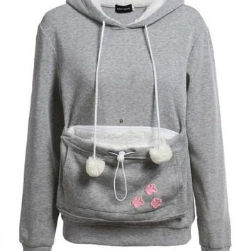 New Grey-White Patchwork Pockets Pet Pouch Carrying Hoodie Casual Pullover Sweatshirt