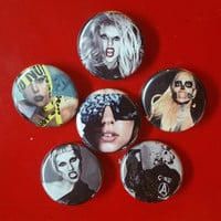 """Lady Gaga set of 6 pin back buttons 1.25"""""""