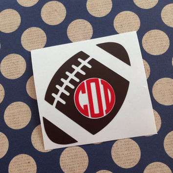 Football Monogram | Monogrammed Football | Monogrammed Helment | Helment Monogram | Sports Car Decal | Football Car Decal | Football