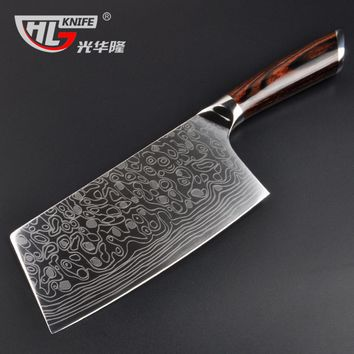 high quality laser damascus pattern kitchen knife imported handle full tang Chinese cleaver bone chopping butcher knife