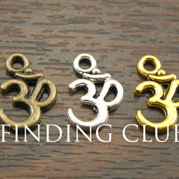 Free Shipping! 50 pcs Metal Alloy OM Aum Ohm Mantra Sign Charm Pendant 15x10mm Fit Jewelry Making