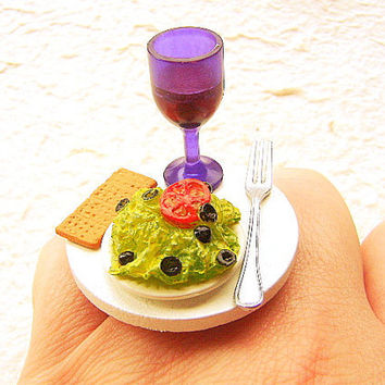 Kawaii Food Ring Wine Salad Crackers  Miniature Food Jewelry