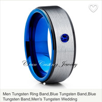 Blue Sapphire Blue Tungsten Ring Brushed 8mm