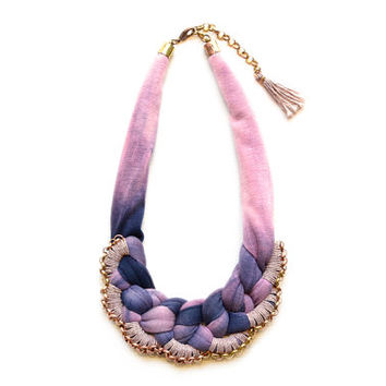 Ombre Statement Necklace, Dip Dyed Fabric Bib, Crochet Collier