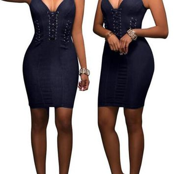 Sapphire Blue Plain Cut Out Zipper Backless Sleeveless Bodycon Denim Mini Dress