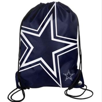 Dallas Cowboys Drawstring Bags High Quality Polyester Fabric Men Backpack Digital Printing Pouch 35*45CM Sports Fan Flag