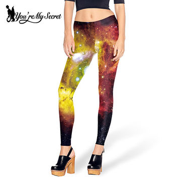 [You're My Secret] Sexy Space Galaxy 3d Print Women Leggings Shiny Slim Pants Adventure Time Fitness leggins Women's Clothing