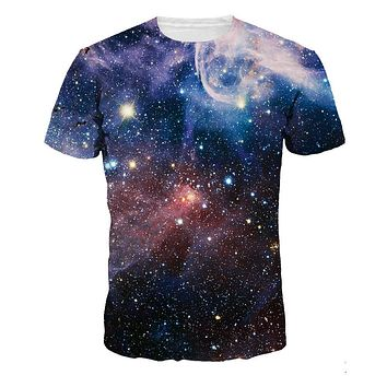 XQXON-2016 new summer casual Colorful galaxy space printed 3D t shirt men women new fashion tops tees plus size t-shirt