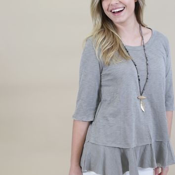 Fly Right 3/4 Sleeve Top, Faded Olive