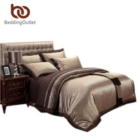 Best Sell Gold And Brown Bedding Wedding Gift Duvet Cover Set Noble and Elegant Home Textiles 4Pcs Queen King