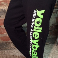 Volleyball Sweatpants in Black with Neon Green Print