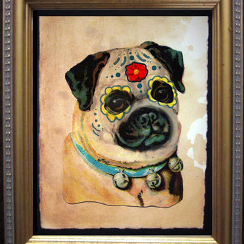 Pug Sugar Skull Day of the Dead Art Print - Vintage Collage Art Print on Tea Stained Paper - Vintage Art Print