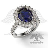 AVA – OVAL HALO SAPPHIRE .925 STERLING SILVER ENGAGEMENT RING CUSTOMMADE – MADE TO ORDER – 074