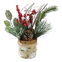 "12"" Iced Pine Cones  Sprigs and Berries in a Burlap Basket Christmas Decoration"