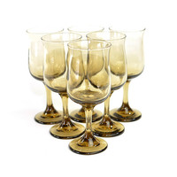 Gold Smoke Glass Water / Wine Goblets (Set of 6) - Libbey Rock Sharpe, Tulip - Elegant Serving Stemware for Dinner Party or Wedding Decor