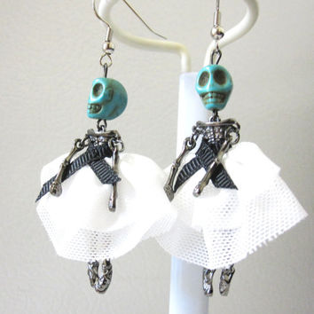 Ballerina Skull Earrings Day of the Dead Dancing Skeleton Jewelry