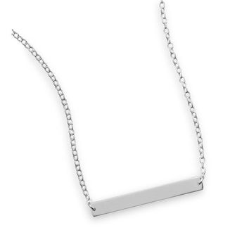 """16"""" + 2"""" Thin Engravable Bar Nameplate Necklace"""