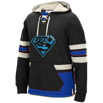 Carolina Winter New Designs Hoodies, Panthers Fans Superman S Logo Style Stitching Sweatshirt, Custom Any Name/Number Pullover
