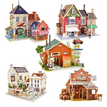 DCCKL72 DIY Wood Assembling Toys Wooden Model Of Three-dimensional 3D Puzzle Educational Toys for Children Castle Model Jigsaw Puzzle