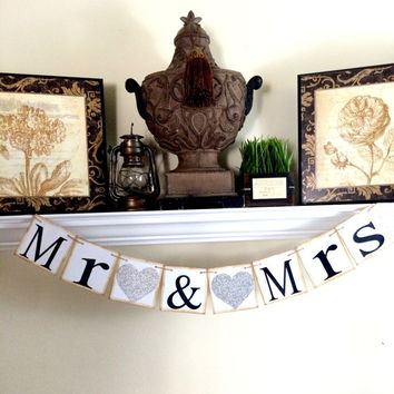 Mr and Mrs Banner, Wedding Chair Sign, Mr & Mrs Reception Banner, Just Married Banner