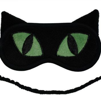 Black Cat Sleep Mask with Green Eyes by PomponDesigns on Etsy