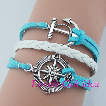 Anchor bracelet Compass bracelet White leather mint string Silver charm Nautical bracelet Sailor jewelry  Navy gift idea
