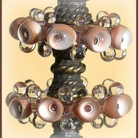 Glass Beads Light Brown, Handmade Lampwork  Glass Beads, Bubble Disc Set (6)