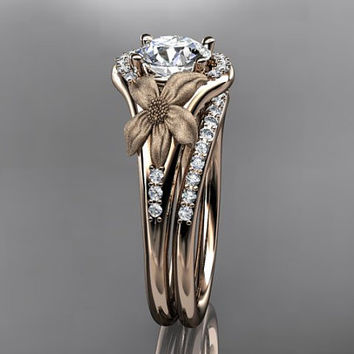 14kt  rose gold diamond leaf and vine wedding ring,engagement ring ADLR91S nature inspired jewelry