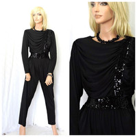 Vintage 80s glam black party jumpsuit M 1980s sequined ruched black one piece pants suit romper Claralura California SunnyBohoVintage