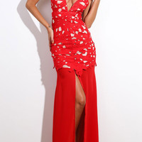 Red Floral Applique Shoulder Strap Maxi Dress