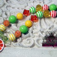 Girls Chunky Beaded Necklace Orange Slice Kids Boutique Jewelry, Fruit Necklace Orange, green and yellow