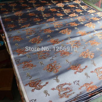 chinese silk brocade woven damask damask fabric cheongsam cushion silver gray back small dragon Tapestry satin