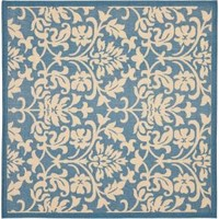 Safavieh, Courtyard Blue/Natural 7 ft. 10 in. x 7 ft. 10 in. Square Area Rug, CY3416-3103-8SQ at The Home Depot - Mobile