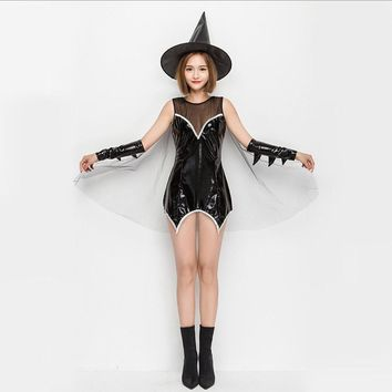 Lavish stage performance Costumes 2017 Halloween girl sets mesh patent leather witch game clothing skirt costumes