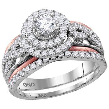 14kt White Gold Womens Round Diamond Double Halo Certified Bridal Wedding Engagement Ring Band Set 1-1/5 Cttw