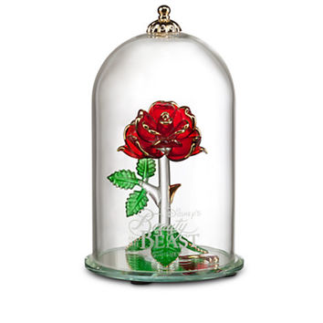 Disney Beauty and the Beast Enchanted Rose Glass Sculpture by Arribas Large