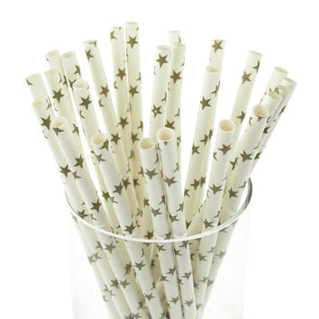 Star Paper Straws, 7-3/4-inch, 25-pack, Willow/White