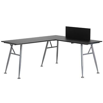 Black Laminate L-Shape Computer Desk with Silver Frame Finish