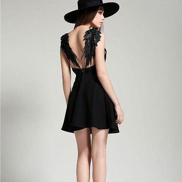 new summer dresses beach A-LINE spaghetti strap V-neck Lace black white solid Angel wings mini Sexy Backless dress