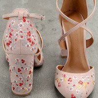 Lottie Nude Embroidered Ankle Strap Heels