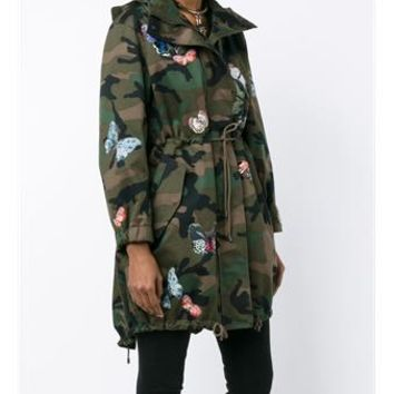 VALENTINO | Butterfly Embroidered Camouflage Parka Jacket | Womenswear | Browns Fashion