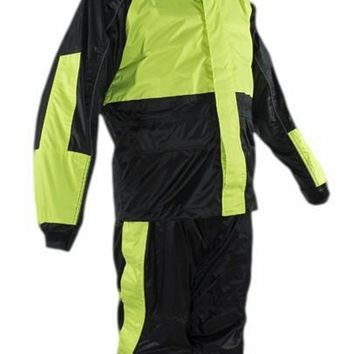 CD D C Mens 2 Piece Black & Fluorescent Biker Motorcycle Hooded Rain Suits